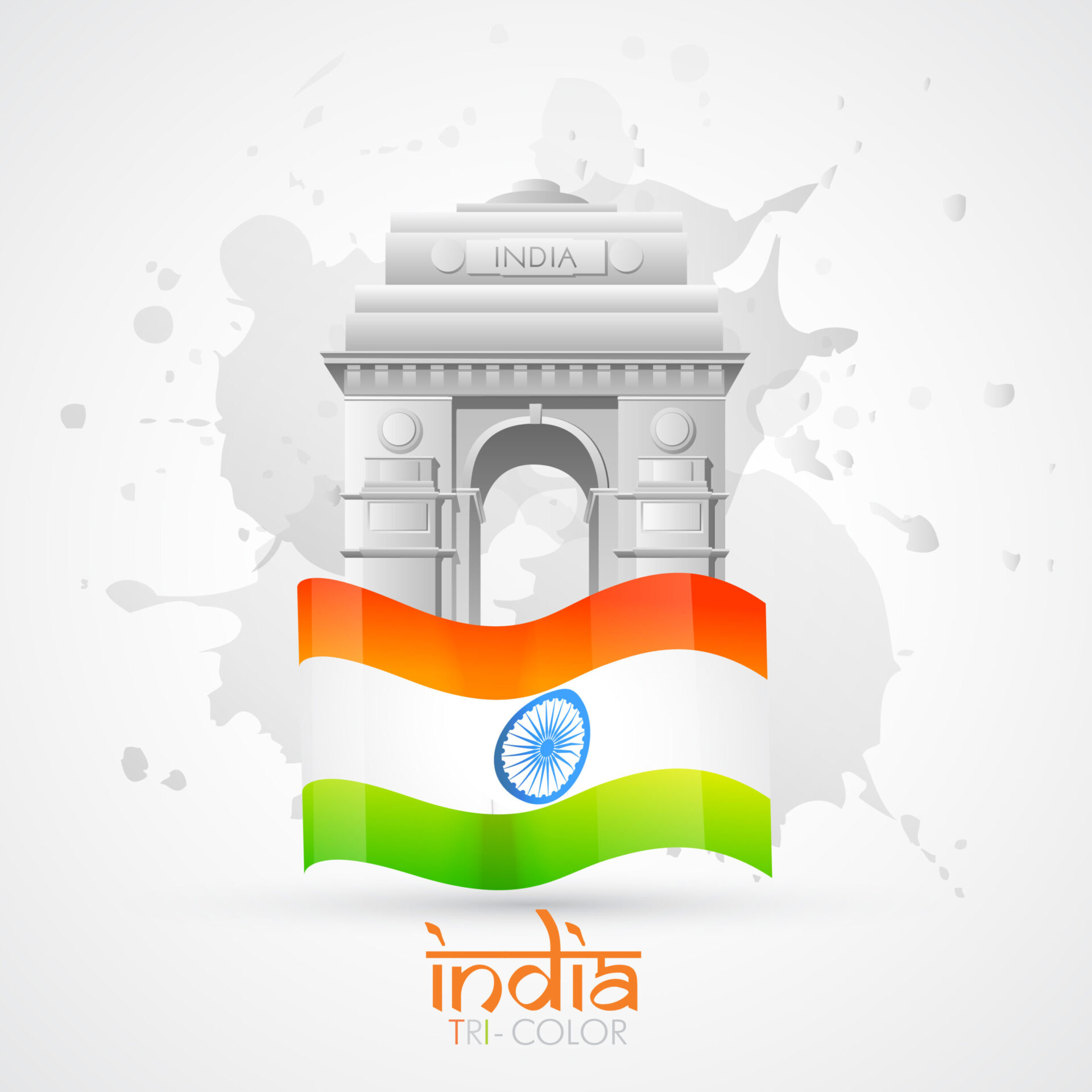 vector india gate with indian flag